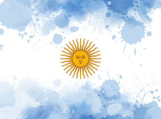 Argentine Republic abstract watercolored flag