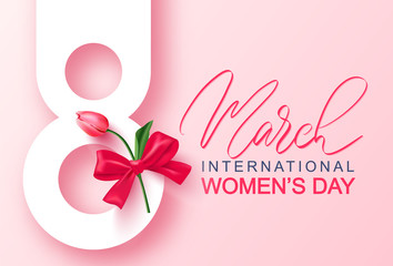 8 March Happy Women's Day banner. Beautiful Background with tulip and bow. Vector illustration for postcards,posters, coupons, promotional material.