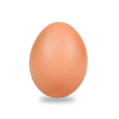 Fresh and Raw chicken eggs in egg on white background.