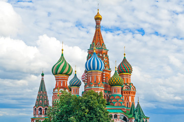 View on a St. Basil's Cathedral on Red Square in Moscow (Russia) against a cloudy sky