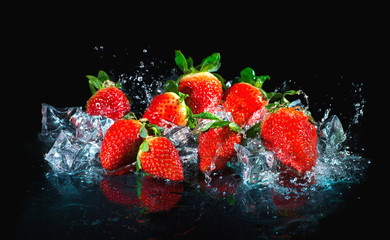 Strawberries in water splash Wall mural