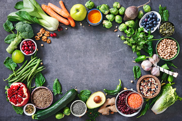 Healthy food selection with fruits, vegetables, seeds, super foods, cereals