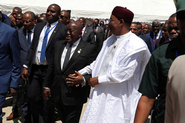 Nana Akufo-Addo, President of Ghana and Mahamadou Issoufou, President of Niger, arrive to the opening of the 32nd Ordinary Session of the Assembly of the Heads of State and the Government of the African Union in Addis Ababa