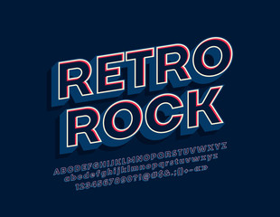 Vector icon Retro Rock with 3D stylish Font. Vintage Alphabet Letters, Numbers and Symbols