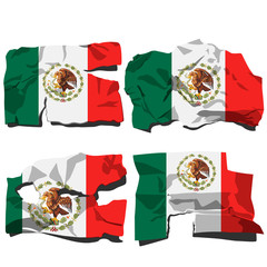 set of four flags, illustration of torn flags, Mexico flag