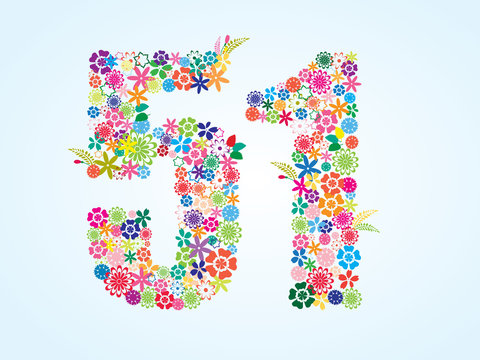 Vector Colorful Floral 51 Number Design isolated on white background. Floral Number Fifty One Vector Typeface.