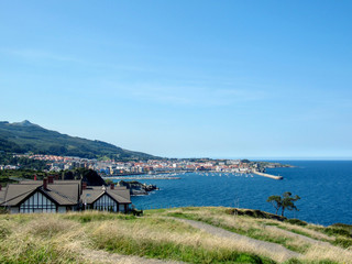 Castro Urdiales with the blue sea water, typical Cantabrian landscape, northern Spain