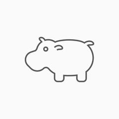hippopotamus icon, hippo vector