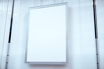 Closeup of empty white billboard
