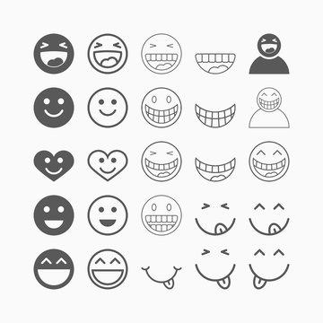 smile icon set, laugh vector