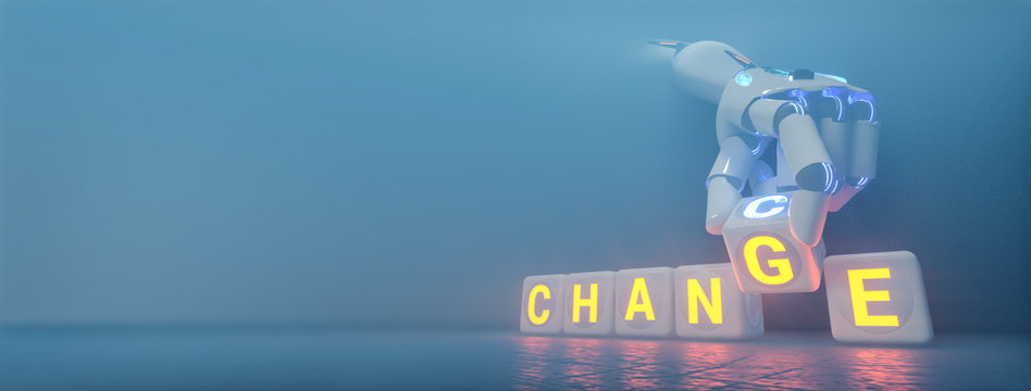 cyborg robot hand changes text cube from change to chance - ai concept - 3d rendering
