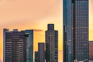 Skyline of Frankfurt with office buildings in sunset