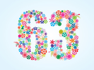 Vector Colorful Floral 63 Number Design isolated on white background. Floral Number Sixty Three Vector Typeface.