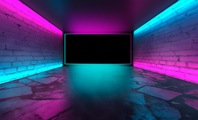 Background of empty room with brick walls, concrete floor, tiles. Pink and blue neon light, smoke