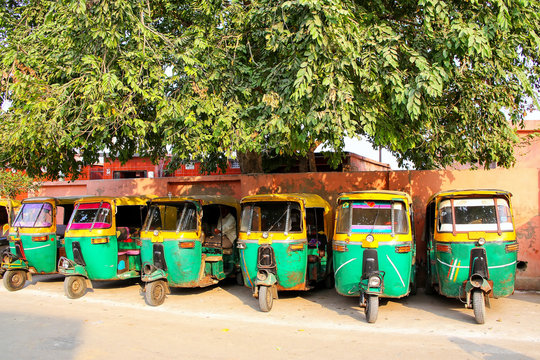 Tuk-tuks parked in Taj Ganj neighborhood of Agra, Uttar Pradesh, India