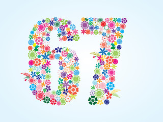 Vector Colorful Floral 67 Number Design isolated on white background. Floral Number Sixty Seven Vector Typeface.
