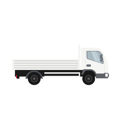 Cargo truck in white color. Heavy traffic vehicle