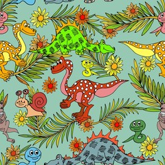 Dinosaurs and diplodok in the ancient forest.
