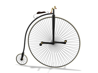 High wheel bicycle 3d rendering