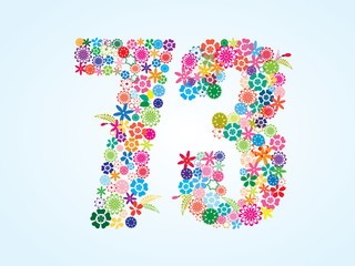 Vector Colorful Floral 73 Number Design isolated on white background. Floral Number Seventy Three Vector Typeface.