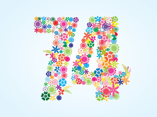 Vector Colorful Floral 74 Number Design isolated on white background. Floral Number Seventy Four Vector Typeface.