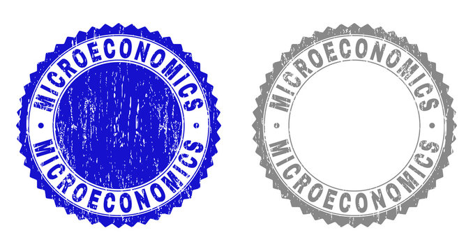 Grunge MICROECONOMICS stamps isolated on a white background. Rosette seals with grunge texture in blue and grey colors. Vector rubber stamp imitation of MICROECONOMICS label inside round rosette.