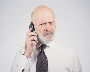 Mid age man having hearing loss problems