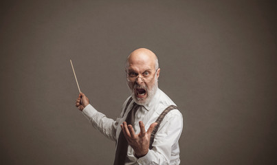 Crazy angry professor yelling and pointing with a stick