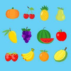 Set of cute 12 color flat fruits icon collection for children learning the English words and vocabulary. Vector illustration.