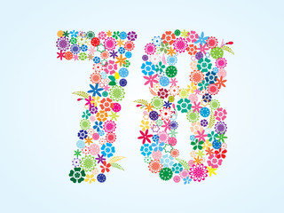 Vector Colorful Floral 78 Number Design isolated on white background. Floral Number Seventy Eight Vector Typeface.