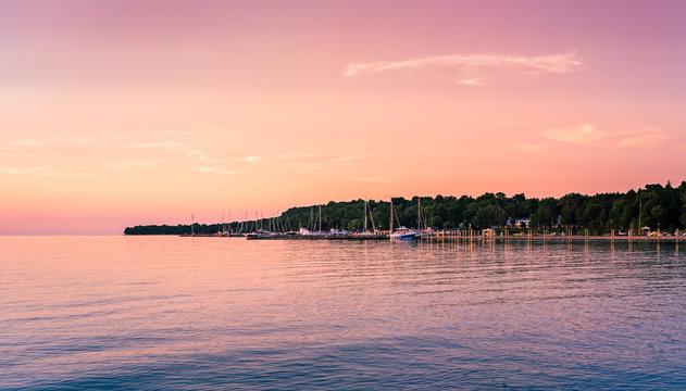 Beautiful lake sunset on Eagle Harbor near Ephraim in Door County, Wisconsin.