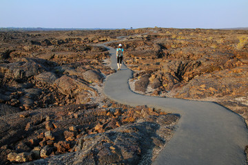 Trail leading to the cave area, Craters of the Moon National Monument, Idaho, USA