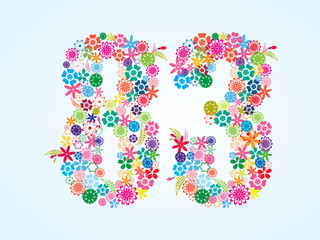 Vector Colorful Floral 83 Number Design isolated on white background. Floral Number Eighty Three Vector Typeface.