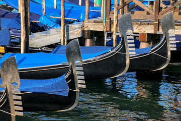 Close-up of moored gondolas at Piazza San Marco in Venice, Italy