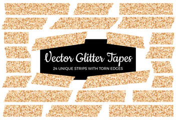 Vector Rose Gold Glitter Tape Strips with Torn Edges. 24 Unique Glittering Isolated Stickers. Chic Festive Photo or Note Sticker for Ad, Print or Web, Layout Element, Clip-art, Scrapbook Embellishment