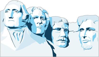 Mount Rushmore Memorial Vector Illustration