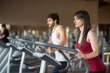 Man woman training fitness gym