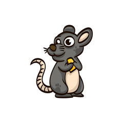 mouse with cheese cartoon colorful funny animal