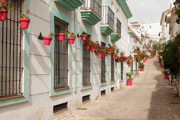 Pink Flowerpots in a Street in Estepona Andalusia Spain