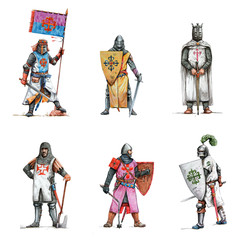 Medieval knights illustration. Set of 6 crusaders. Historical colored pencils drawing.