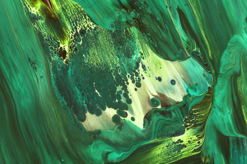 Abstraction of emerald green paint Wall mural
