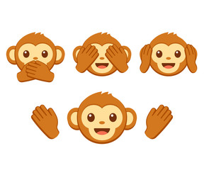 Cute monkey emoji set