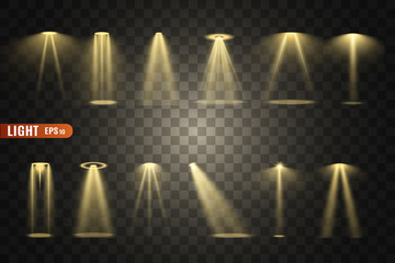 Stage lighting, a collection of transparent effects. Bright lighting with spotlights. Vector illustration.