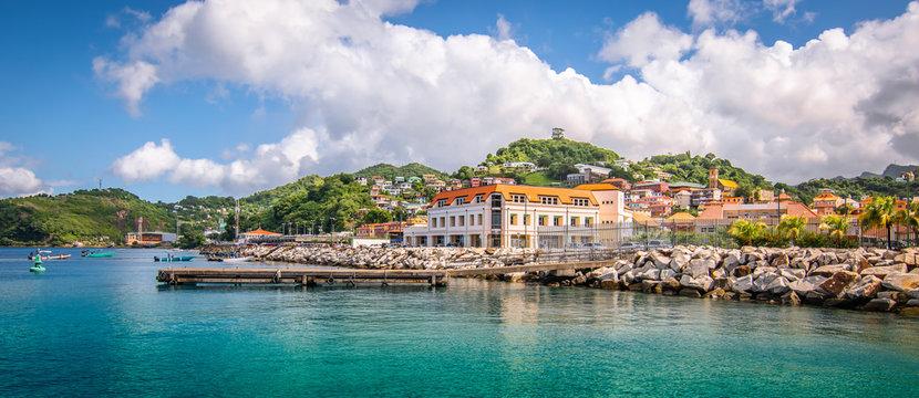 Panoramic view of port of Grenada, Caribbean.
