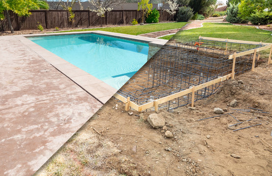 Before and After Pool Build Construction Site