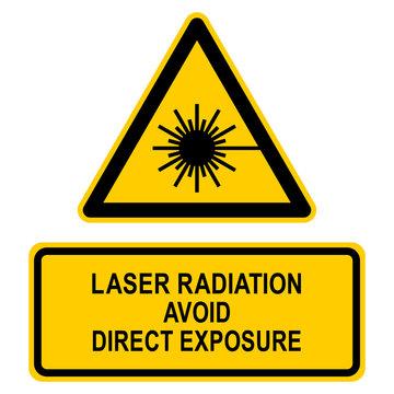 nbcs7 NewBigCombinationSign nbcs - english text: Laser radiation - Avoid direct exposure to beam / warning label (danger) triangular - black yellow - xxl e7199
