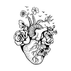 Illustration Anatomical heart with forest fires