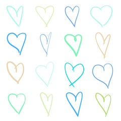 Colorful hearts on isolated white background. Hand drawn set of love signs. Unique abstract image for design. Line art creation. Colored illustration. Sketchy elements for poster or flyer