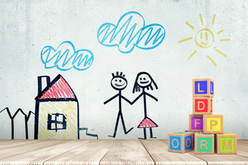 3d rendering of white wall with drawing of house, sky, and boy and girl holding hands, and pile of wooden alphabet blocks on the right.
