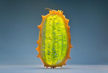 slice of exotic kiwano fruit
